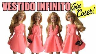 cómo hacer un vestido infinito ropa sin coser para barbie