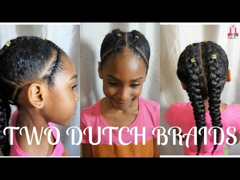 Kids Natural Hairstyles Two Dutch Braids With Cornrows
