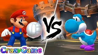 Mario Sport Mix - Team Mario, Peach vs Yoshi, Luigi Play Volleyball Gameplay   CRAZYGAMINGHUB