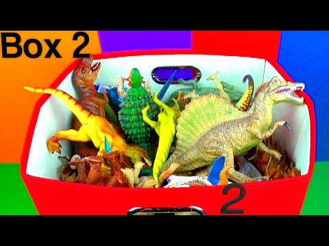 DINOSAUR Box 2 Toy COLLECTION Jurassic World T rex Spinosaurus Toy Review  SuperFunReviews