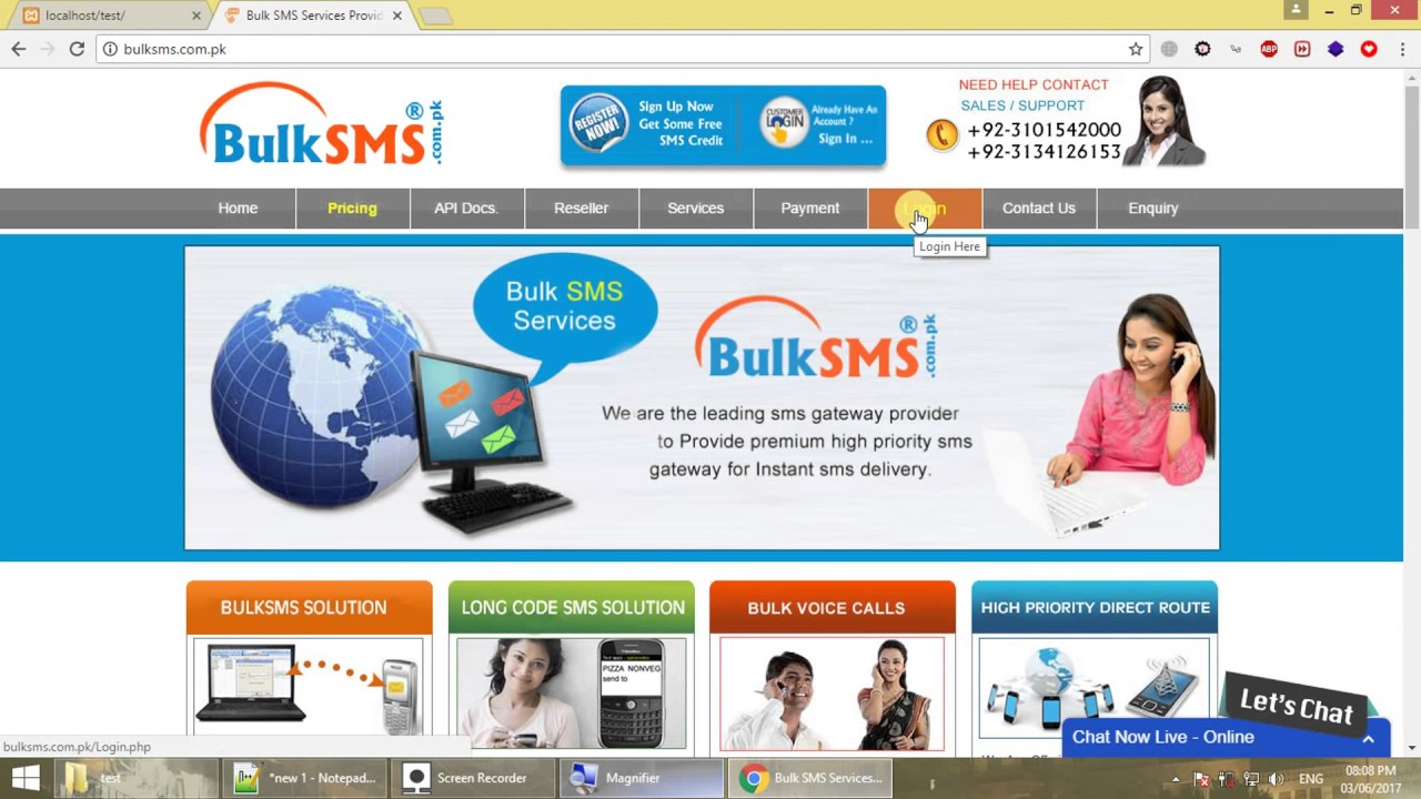 How to send SMS from localhost (in Pakistan) - PHP