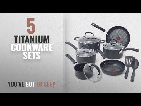 Best Titanium Cookware Sets [2018]: T-fal E765SC Ultimate Hard Anodized Scratch Resistant Titanium