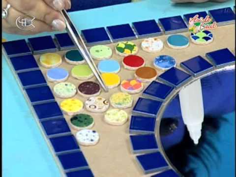 Manualidades Pelusa - Espejo con cerámicas multidiseños