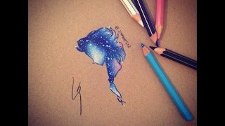 How to draw Galaxy Elsa ( let it go - Demi Lovato )