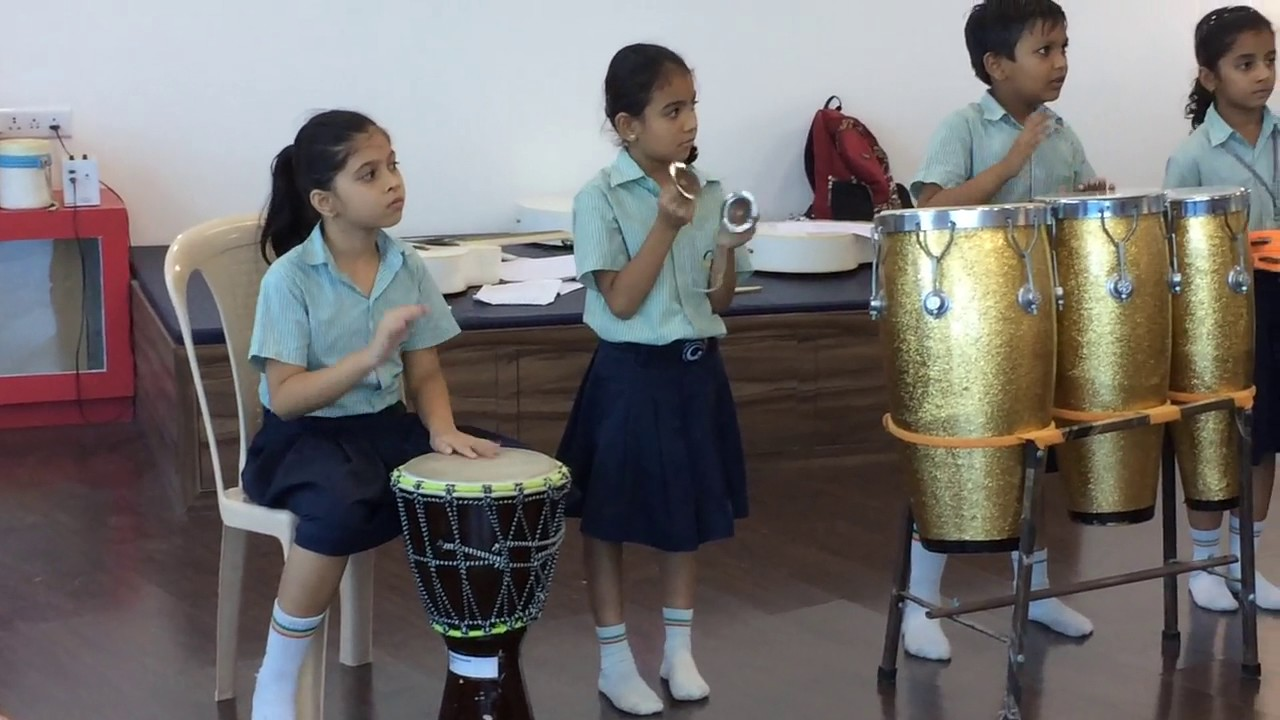 Class 3 students play the Garba beats!
