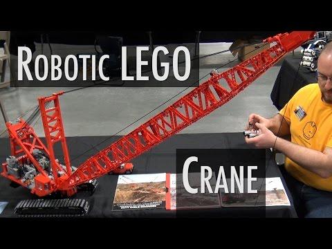 LEGO motorized Manitowoc dragline crane | Brickworld Indy 2016