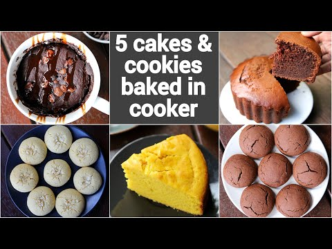 5 cakes & cookies recipes in cooker | how to make cake without oven | no oven cakes recipes
