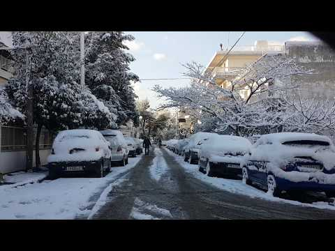 Driving In Snowy Athens (1080p Quality)
