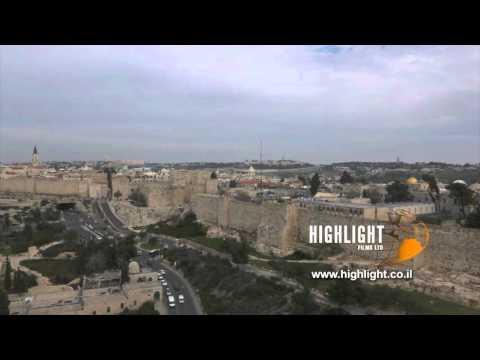DJ4K_022_G 4K Drone Jerusalem: Fly back from Tower of David to see Old City of Jerusalem