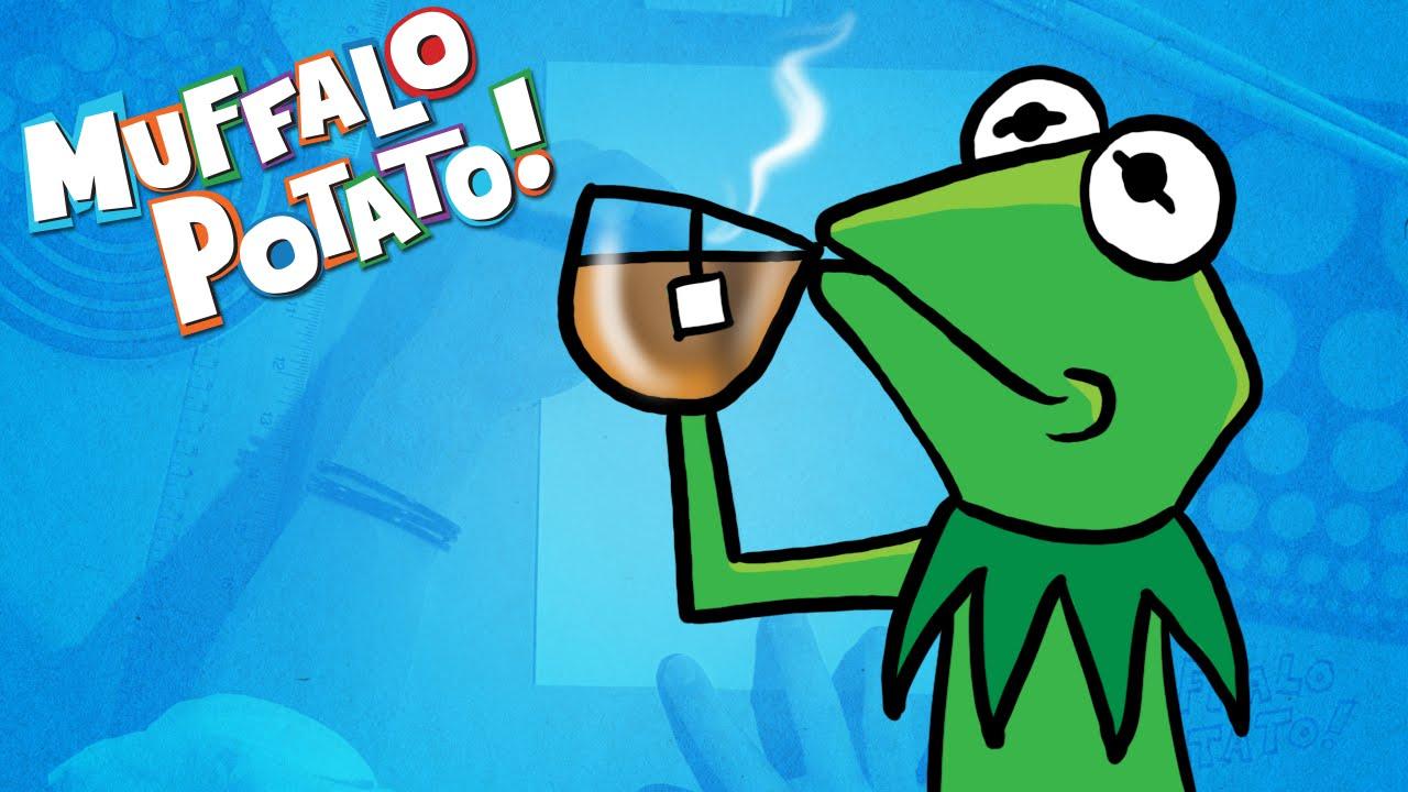 How To Draw Kermit The Frog Drinking Tea With Muffalo Potato Youtube