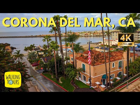Beautiful Beach Town | Corona Del Mar in Newport Beach California USA| 4K Walking Tour