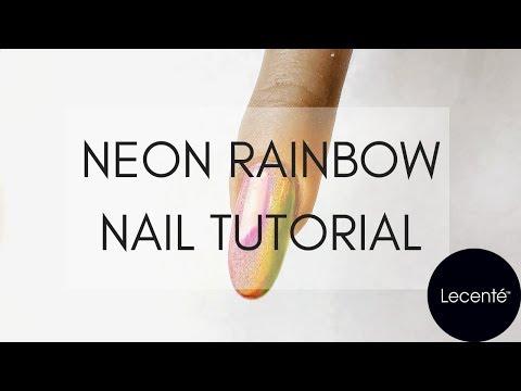 Neon Rainbow Nail Tutorial | Lecenté thumbnail