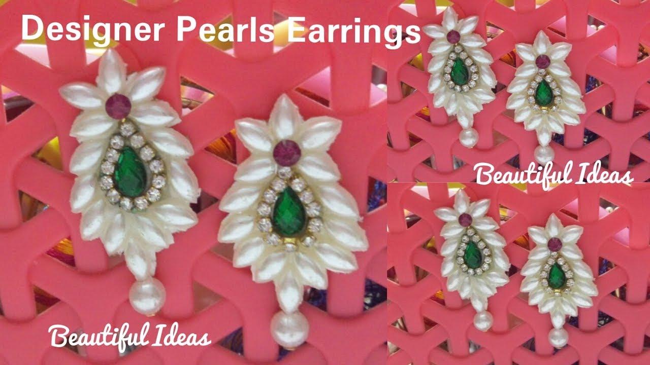 How to Make Paper Designer Earrings//Designer Pearls Earrings ...