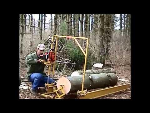 Homemade Portable Saw Mill Demo
