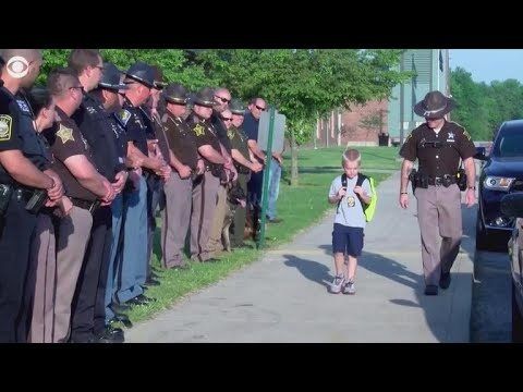 5-year-old boy gets police escort to school after dad killed in line of duty