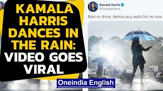 Kamala Harris dances in the rain, twitter can't get enough: Watch the viral video|Oneindia News