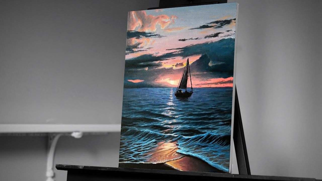 Painting A Sailboat On The Ocean With Acrylic Painting With Ryan Youtube