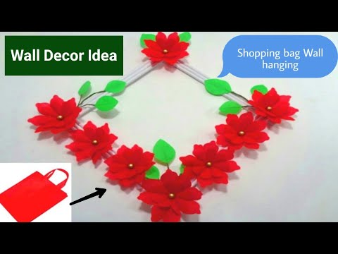 How to Make Shopping Bag Flowers WALL HANGING !! Wall Hanging Making Idea !! Best Wall Decoration