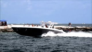 Midnight Express 43 Open Quad 300 Mercury on Rough Water