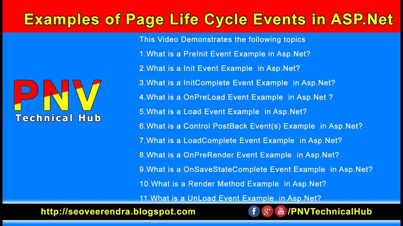 Examples of Page Life Cycle Events in ASP Net Video Tutorial