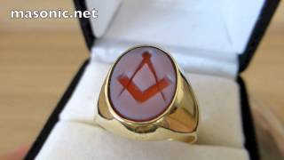 Masonic Ring Gold & Agate. Square & Compasses