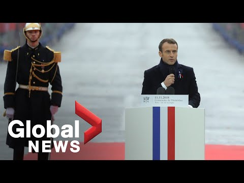 "Macron rebukes nationalism in Armistice speech calling it ""a betrayal of patriotism"""