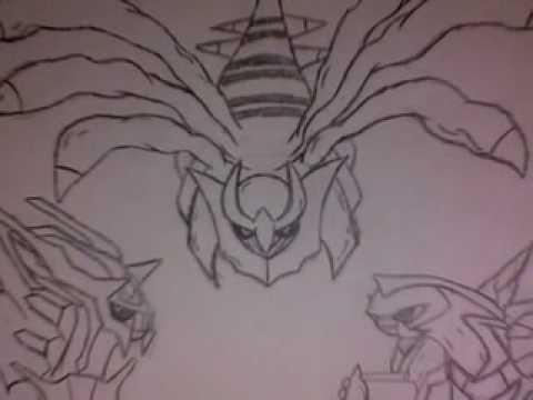 My Drawing Of Dialga Palkia And Giratina Youtube