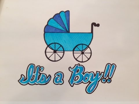 how to draw it 39 s a boy for baby shower youtube