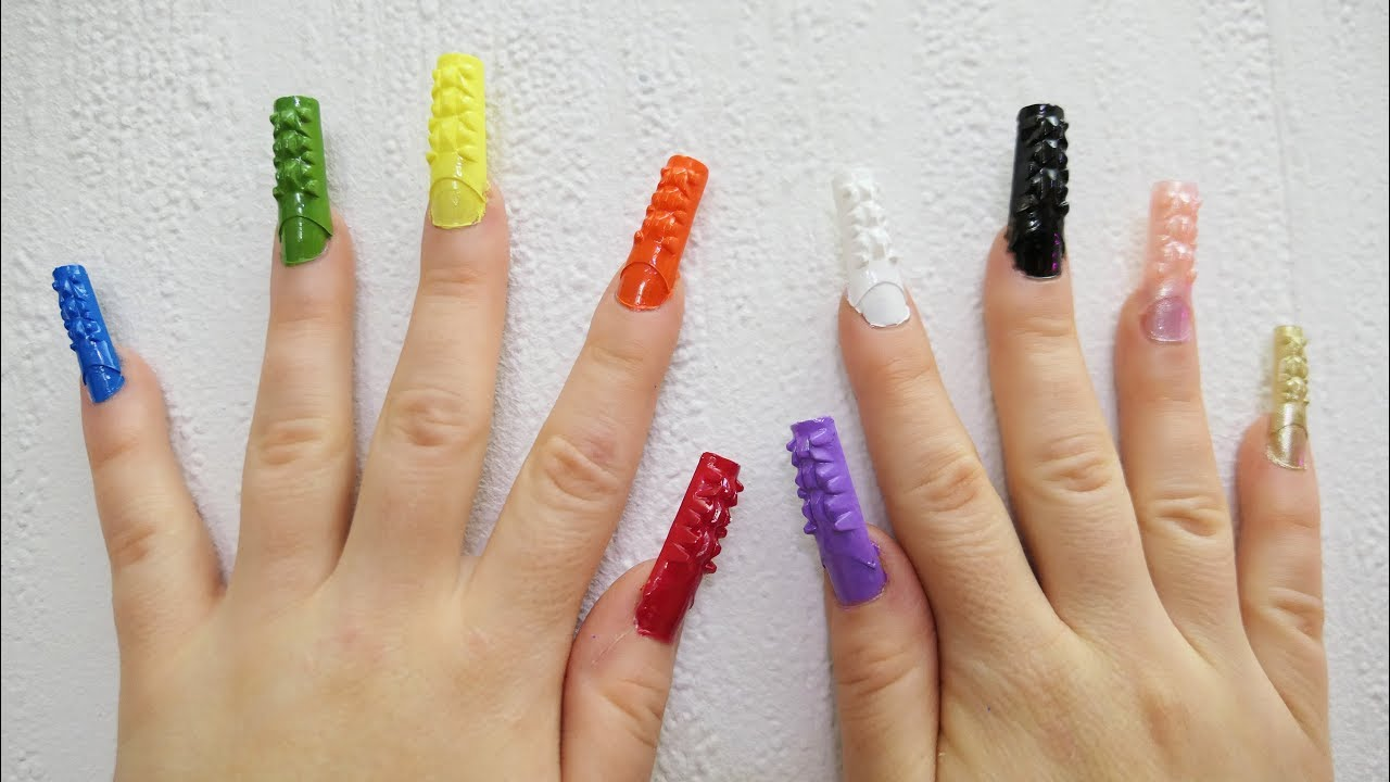 Learn Colors Nail Arts 3D Mosaic Nail Tip 10 Colours Teach Kids ...