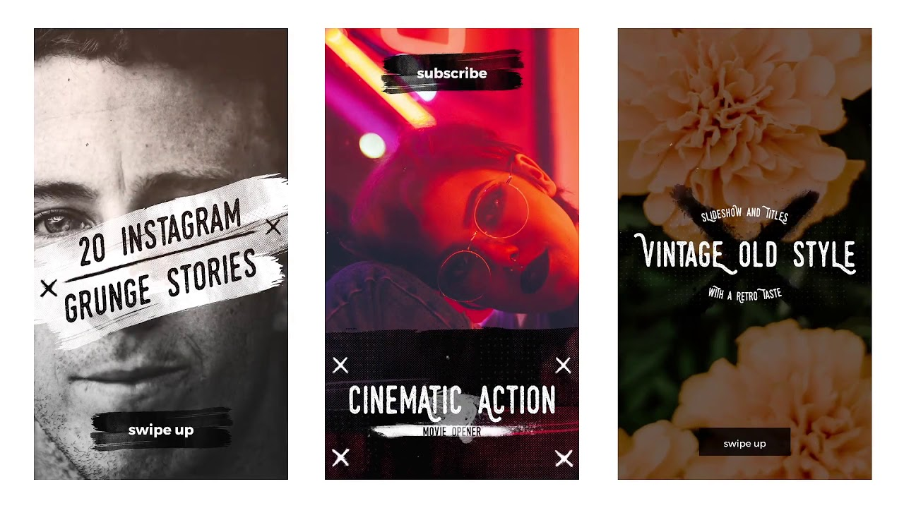 20 Instagram Grunge Stories | Adobe After Effects template Free download project