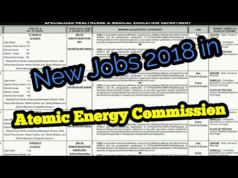 Pakistan Atomic Energy Commission Jobs 2018 (PAEC) Vacancies Advertisement Latest