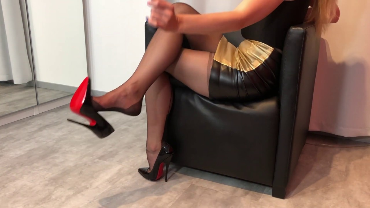 Bupshi - nylon stockings and 6 inch heels