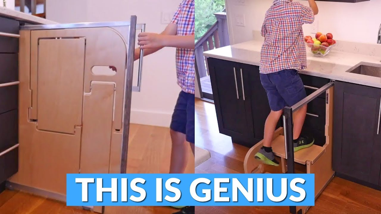 This Built In Folding Step Stool Pulls Out From Your