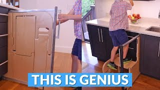 This Built-In Folding Step Stool Pulls Out From Your Cabinet