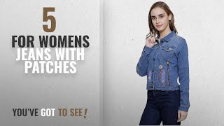 Top 10 For Womens Jeans With Patches [2018]: Mitra Creations Mirror Patch Design Shredded Denim