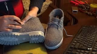 валяние /видеозарисовка/делаю строчку и ставлю люверсы на серых ботинках