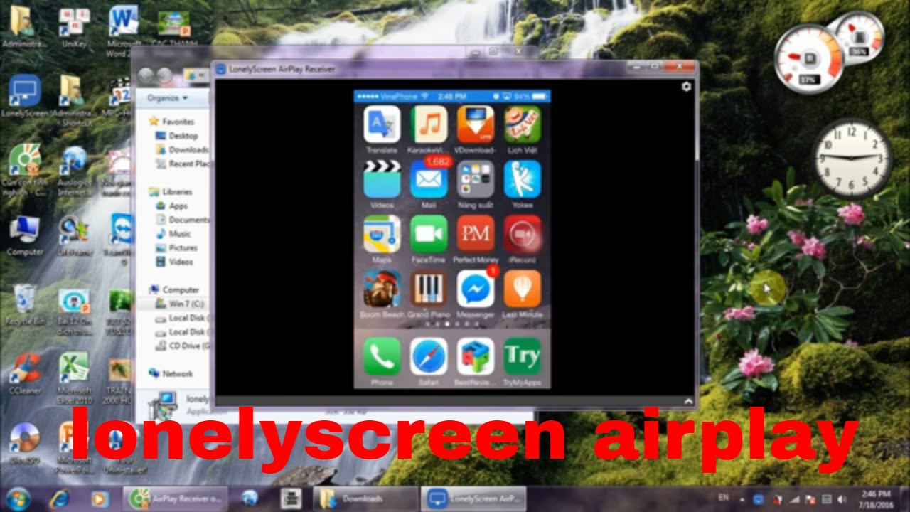 Airplay for window from iphone with LONELYSCREEN