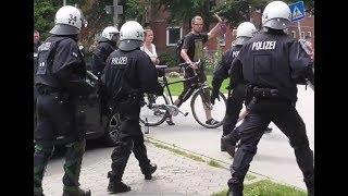 (G20 Hamburg 2017) VIP Kolonne wird blockiert und von der Polizei befreit