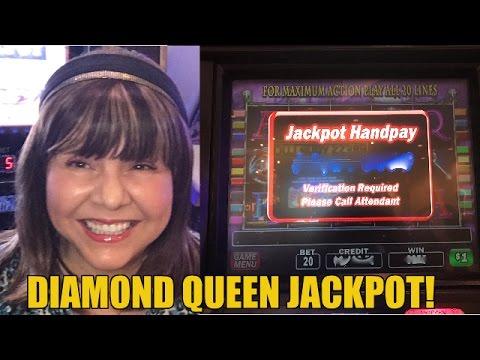 HANDPAY! DIAMOND QUEEN SLOT MACHINE BONUS!