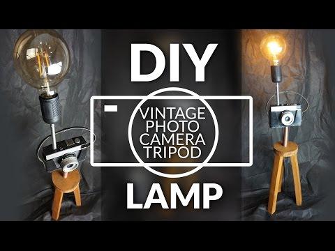DIY vintage photo camera tripod lamp