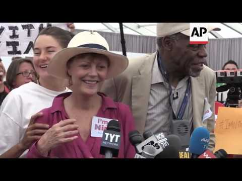 Sarandon, Glover, more join Bernie Sanders supporters at protest