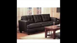 Coaster Fine Furniture 501681 Samuel Contemporary Leather Sofa, Black