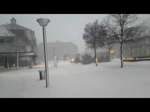 Snowstorm in Rønne city on Bornholm (Denmark)