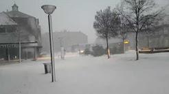 Snowstorm in Rnne city on Bornholm (Denmark)