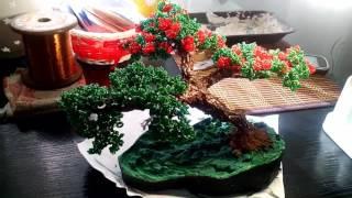Красивое дерево из бисера. Данное бисерное дерево было сделано Настей для подарка маме в 2016г.