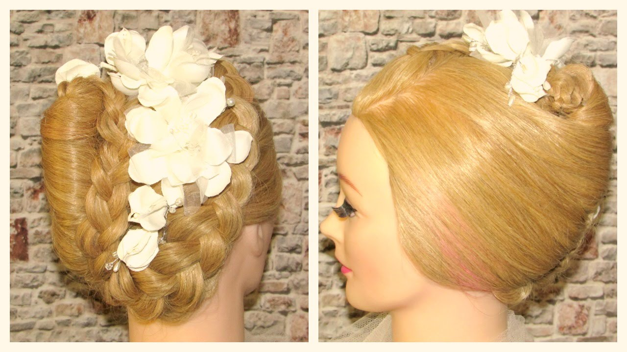 French Roll Braided Updo Wedding Hairstyle Youtube
