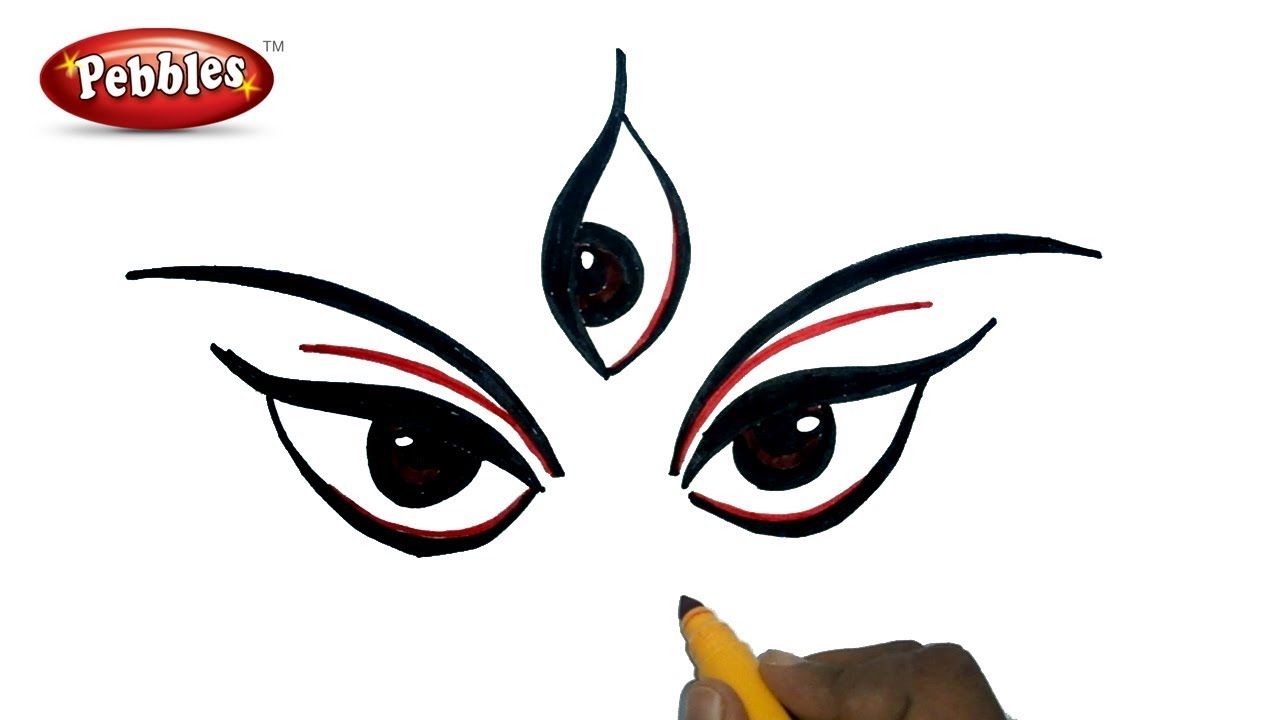 Durga puja drawing for kids how to draw durga maa navratri special