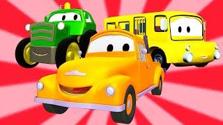 Odtahový vůz Tom a Školní autobus, Jeřáb, Traktor | Animák z prostředí staveniště s auty