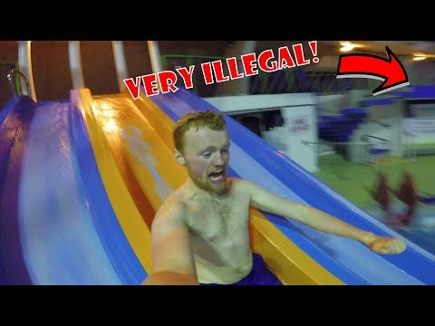WE ESCAPED! Police chased us out of Waterpark Overnight Challenge!!