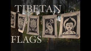 Handmade Flags with Tibetan symbols. Printmaking on textile